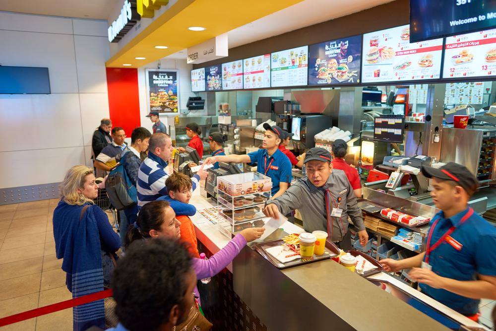 Queue at a fast food restaurant