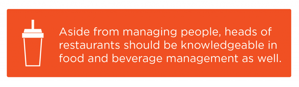Responsibilities for heads of restaurants