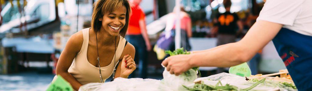 Girl buying street food